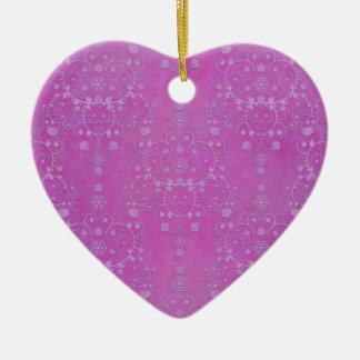 Fuchsia Purple Floral Damask Pattern Ceramic Ornament