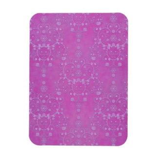 Fuchsia Purple Floral Damask Pattern Rectangular Photo Magnet