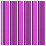 [ Thumbnail: Fuchsia, Purple, Light Cyan & Black Colored Lines Fabric ]