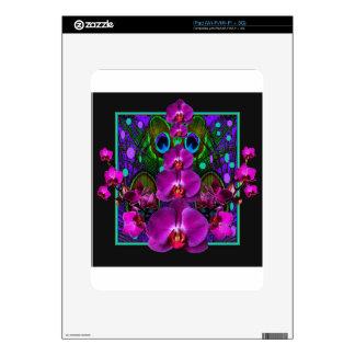 Fuchsia Purple Orchids Green-black Design gifts Skin For The iPad