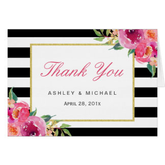 Fuchsia Purple Red Floral Black Stripes Thank You Card