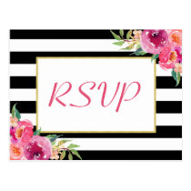Fuchsia Purple Red Floral Gold Wedding RSVP Reply Postcard