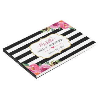 Fuchsia Purple Red Floral Stripes Bridal Shower Guest Book