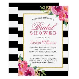 Fuchsia Purple Red Floral Stripes Bridal Shower Invitation