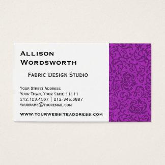 Fuchsia Purple Tudor Garden Floral Damask Business Card