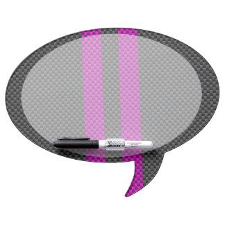 Fuchsia Racing Stripes in Carbon Fiber Style Dry Erase Board