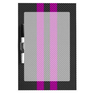 Fuchsia Racing Stripes in Carbon Fiber Style Dry-Erase Board