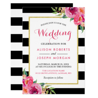 Fuchsia Raspberry Floral Stripes Modern Wedding Card