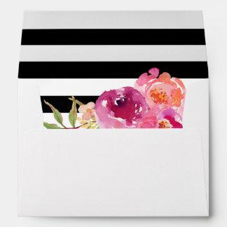 Fuchsia Raspberry Floral Stripes Return Address Envelope