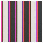 [ Thumbnail: Fuchsia, Red, Black, Beige & Midnight Blue Lines Fabric ]