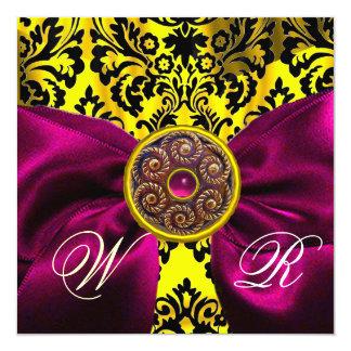 FUCHSIA RIBBON GOLD YELLOW  BLACK  DAMASK MONOGRAM CARD