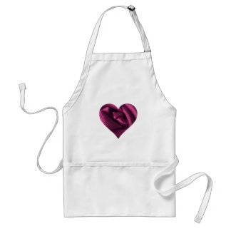Fuchsia Rose Heart Adult Apron
