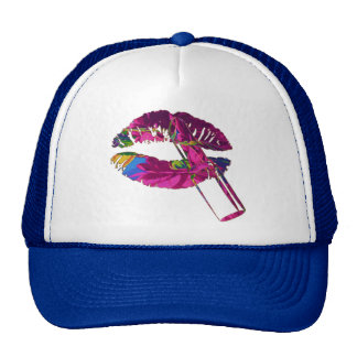 Fuchsia Roses Motif Trucker Hat