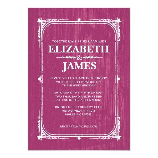 Fuchsia Rustic Barn Wood Wedding Invitations