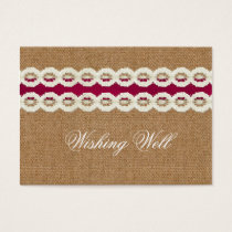Fuchsia Rustic burlap and lace wedding Business Card