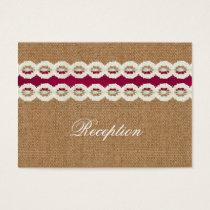 Fuchsia Rustic burlap and lace wedding Business Card