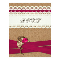 Fuchsia Rustic burlap and lace wedding Card