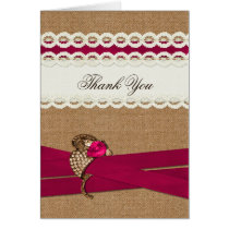 Fuchsia Rustic burlap and lace wedding Card