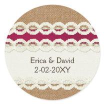 Fuchsia Rustic burlap and lace wedding Classic Round Sticker