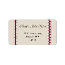 Fuchsia Rustic burlap and lace wedding Label