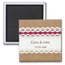 Fuchsia Rustic burlap and lace wedding Magnet