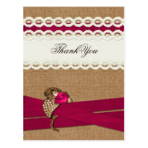 Fuchsia Rustic burlap and lace wedding Postcard