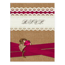 Fuchsia Rustic burlap and lace wedding Postcard