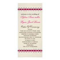 Fuchsia Rustic burlap and lace wedding Rack Card