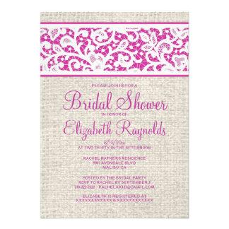 Fuchsia Rustic Burlap Linen Bridal Shower Invites Custom Announcements