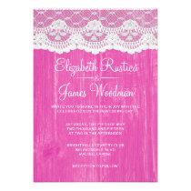 Fuchsia Rustic Lace Barn Wood Wedding Invitations Invite