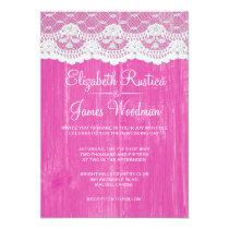 "Fuchsia Rustic Lace Barn Wood Wedding Invitations 5"" X 7"" Invitation Card"