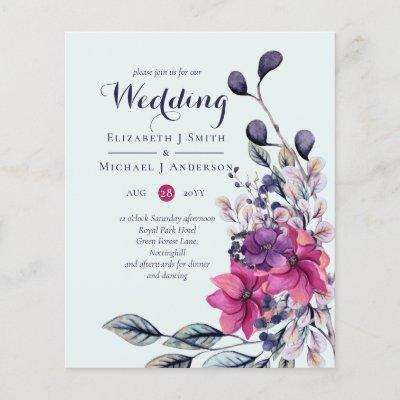 Fuchsia Sage Autumn Fall Wedding Invites BUDGET