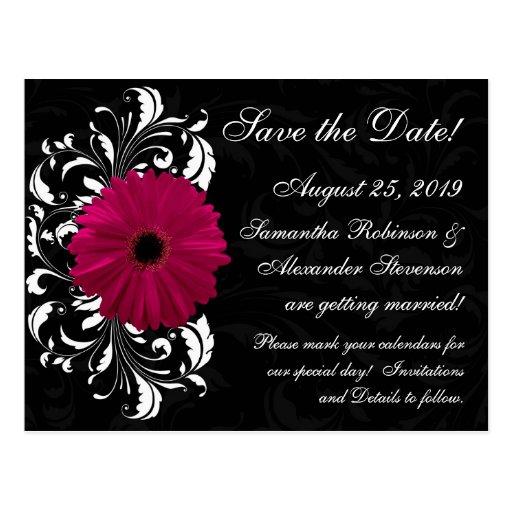 Fuchsia Scroll Gerbera Daisy Black Save the Date Postcard