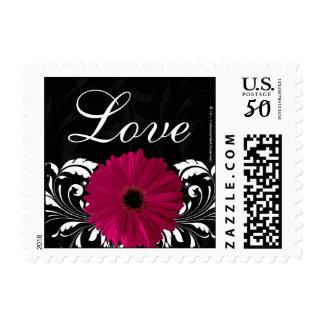 Fuchsia Scroll Gerbera Daisy Black/White Love Postage