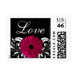 Fuchsia Scroll Gerbera Daisy Black/White Love Postage Stamp