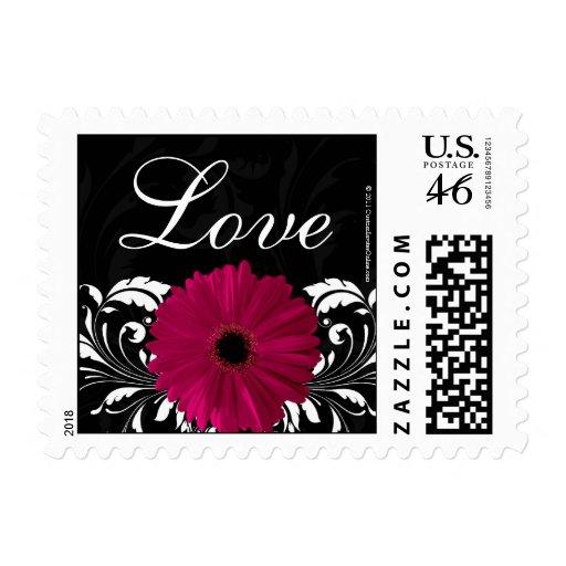 Fuchsia Scroll Gerbera Daisy Black/White Love Postage Stamp