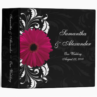 Fuchsia Scroll Gerbera Daisy w/Black and White Binder