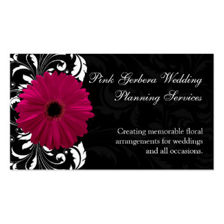 Fuchsia Scroll Gerbera Daisy w/Black and White Business Card Template