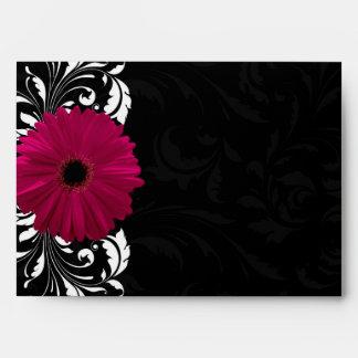 Fuchsia Scroll Gerbera Daisy w/Black and White Envelope