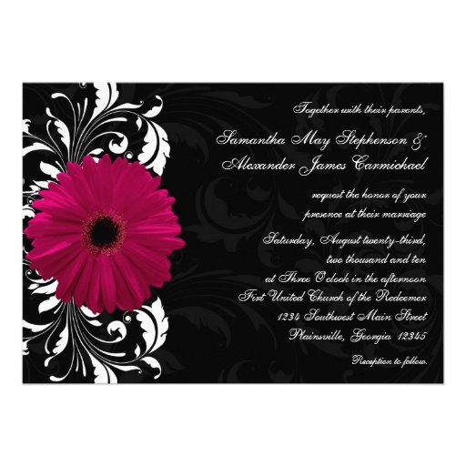 Fuchsia Scroll Gerbera Daisy w/Black and White Personalized Invitation