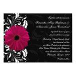 Fuchsia Scroll Gerbera Daisy w/Black and White 5x7 Paper Invitation Card