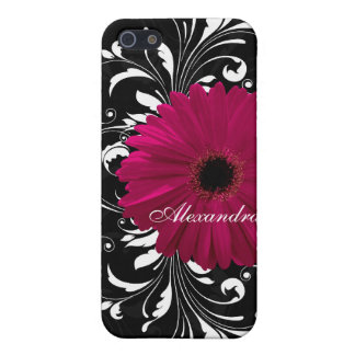 Fuchsia Scroll Gerbera Daisy w/Black and White iPhone SE/5/5s Case