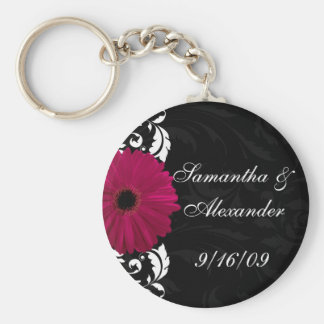 Fuchsia Scroll Gerbera Daisy w/Black and White Keychain