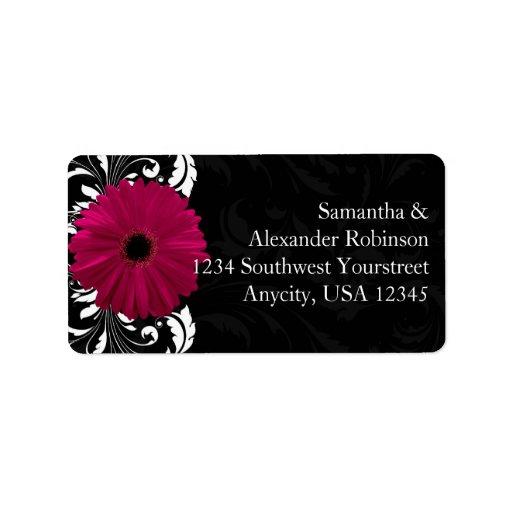 Fuchsia Scroll Gerbera Daisy w/Black and White Address Label