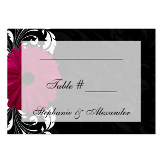 Fuchsia Scroll Gerbera Daisy w/Black and White Large Business Cards (Pack Of 100)