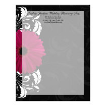Fuchsia Scroll Gerbera Daisy w/Black and White Letterhead