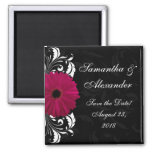 Fuchsia Scroll Gerbera Daisy w/Black and White Refrigerator Magnets
