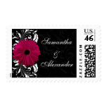 Fuchsia Scroll Gerbera Daisy w/Black and White Postage Stamp