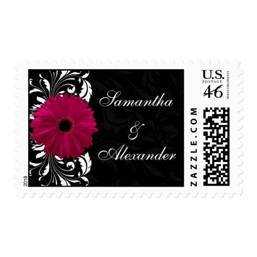 Fuchsia Scroll Gerbera Daisy w/Black and White Postage Stamp