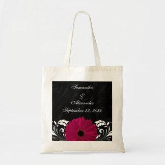 Fuchsia Scroll Gerbera Daisy w/Black and White Tote Bag